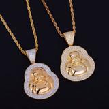 18k Gold AAA True Micro Pave Buddha Pendant