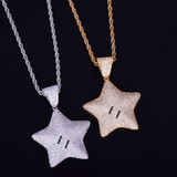 18k Gold .925 Silver Mario Power Star AAA True Micro Pave Bling Pendant Chain Necklace
