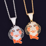 18k Gold .925 Silver Hip Hop Micro Paved Flooded Ice Stone 69 Saw Doll Chain Mask Pendant