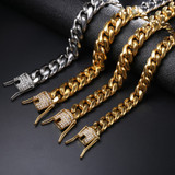 14mm Iced Out Lab Diamond Men's Stainless Steel Miami Cuban Link Bracelet
