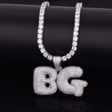 Lab Diamond Custom Name Bubble Letters Flooded Ice Hip Hop Pendants Chain Necklaces