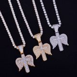 18k Gold Angel Wings Cross Pendant