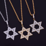 AAA Lab Diamond Iced Out Star of David Pendant