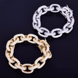 24k Silver Rose Gold 18mm AAA Lab Diamond Super Bling Iced Out Rugged Rolo Link Bracelet