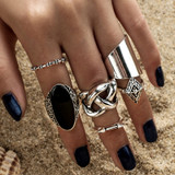 Womens 5pcs High Quality Bohemia Style Classic Crystal Patters Ring Set