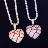 18k Gold .925 Shattered Heart Pendant Chain Necklace
