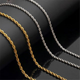 Gold Silver 316L Stainless Steel Rope Chain