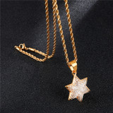 Micro Pave Full Lab Diamond Stainless Steel Iced Out Bling Jewish Magen Star of David Pendant
