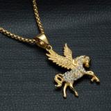 Flying Horse Pegasus 14k Gold 316L Stainless Steel Pendant