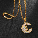 14k Gold Stainless Steel Euro Money Symbol Lab Diamond Pendant