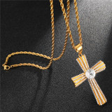 Stainless Steel Micro Pave Center Stone Crucifix Cross Pendant