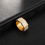 Hip Hop 14k Gold Stainless Steel Micro Pave Square Bolt Ring