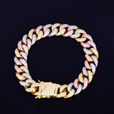 24k Gold Silver Rose Gold 12MM Mixed Color Miami Cuban Link Flooded Ice Chain Bracelet
