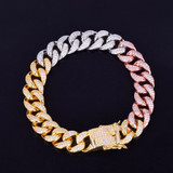 Rose Silver 24k 12MM Iced Out Mixed Color Miami Cuban Link Chain Bracelet