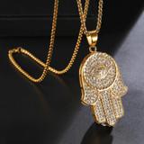 Large 14k Gold Hamsa Hand Pendant