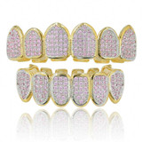Pink Micro Pave Lab Diamond Bling Iced Out Teeth Grillz Set