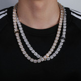 10mm Wide Hip Hop Flooded Ice 1 Row Star Studded AAA Micro Pave Tennis Chain