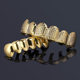 Hip Hop Gold Star Studded Grid Teeth Grillz Top Bottom Set