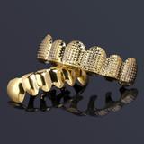 Hip Hop Gold Star Studded Grid Teeth Grillz Top Bottom Set