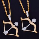 18k Gold Iced Bow and Arrow Pendant