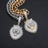 The 14k Gold .925 Silver King Lion Hip Hop AAA True Micro Paved Hip Hop Pendant Chain Necklace