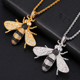 18k Gold 925 Silver Micro Pave Bee Pendant Chain Necklace