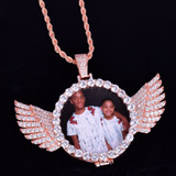 AAA True Micro Pave 18k Gold Custom Photo Angel Wings Medallion