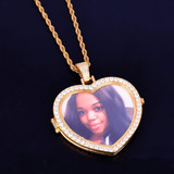 Custom Made 18k Rose Gold .925 Silver Photo Heart Chain Necklace