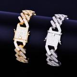 Square Link Miami Cuban Bracelet Gold Silver