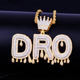 Custom Name 18k Gold Silver Kings Crown Bail Drip Drop Initials Bling Pendant