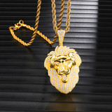 14k Gold Iced King Lion Lab Diamond Hip Hop Pendant