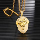 14k Gold Iced King Lion Lab Diamond Hip Hop Pendant