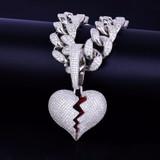 20MM Cuban Link 14k Gold Silver Broken Heart Pendant