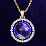 Custom Made AAA True Micro Pave Iced Photo Rotating Pendant