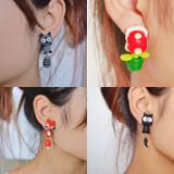 Handmade Cute Kitten Cartoon Animal Mario Sly Fox Plant Stud Earrings