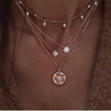 Bohemian Fashion Delicate Crystal Tassel Rhinestone Star Multilayer Gold Necklace Charm