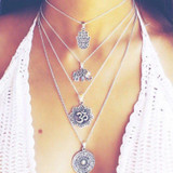 Ladies Silver Boho Elephant Palm Om Hamsa Multilayer Personality Necklace