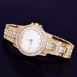 Mens Lab Diamond Luxury Baguette Iced 14k Gold Stainless Steel Bling Watch