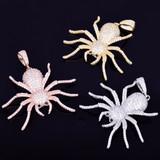 14k Silver Rose Gold Lab Diamond Tarantula Spider Hip Hop Pendant