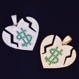 Money Heals Broken Heart 14k Gold Silver Bling Lab Diamond Pendant