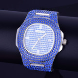 Blue Lab Diamond Iced Faced Silver Stainless Steel Luxury Bling Wristwatch