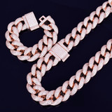 Rose Gold Iced Cuban Chain Bracelet Set