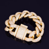 24k Rose Gold .925 Silver 23mm AAA Simulate Diamond Miami Cuban Link Micro Pave Hip Hop Bracelet