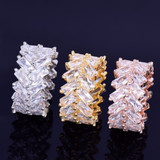 18k Gold .925 Silver Rose Gold 2 Row Baguette AAA True Micro Pave Hip Hop Rings