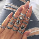 Ladies 15Pcs Bohemian Crystal Flower Leaves Hollow Lotus Silver Ring Set