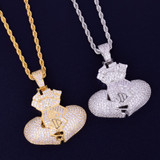 Heart Full of Money Iced Lab Diamond Rose Gold 14k Silver Hip Hop Pendant Chain Necklace