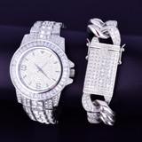 Lab Diamond Luxury Baguette Silver Stainless Steel Bling Watch Cuban Link Bracelet Set