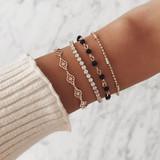 Ladies 4Piece Multi Layer Compass Beads Rhinestone Gold Bracelet Set
