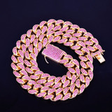 Iced Pink Lab Diamond Micro Pave Stone Miami Cuban Link Chain Necklace