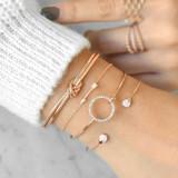Ladies 4 Piece Cupids Arrow Bow Knot Love Bracelet Gold Set